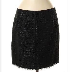 Trina Turk Black Metallic Tweed Skirt Fringe Sz 8